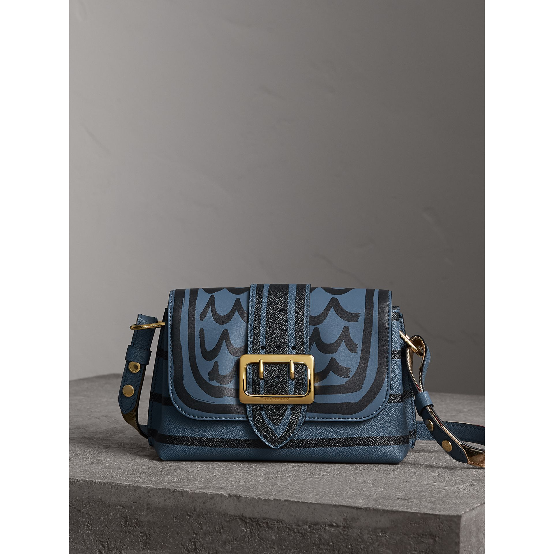 The Buckle Crossbody Bag in Trompe L'oeil Leather in Steel Blue - Women | Burberry - gallery image 1