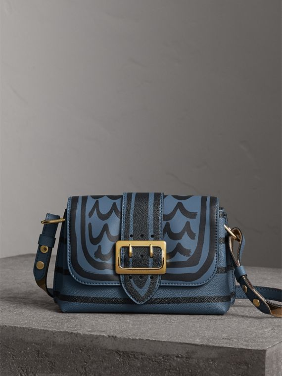 The Buckle Crossbody Bag in Trompe L'oeil Leather in Steel Blue
