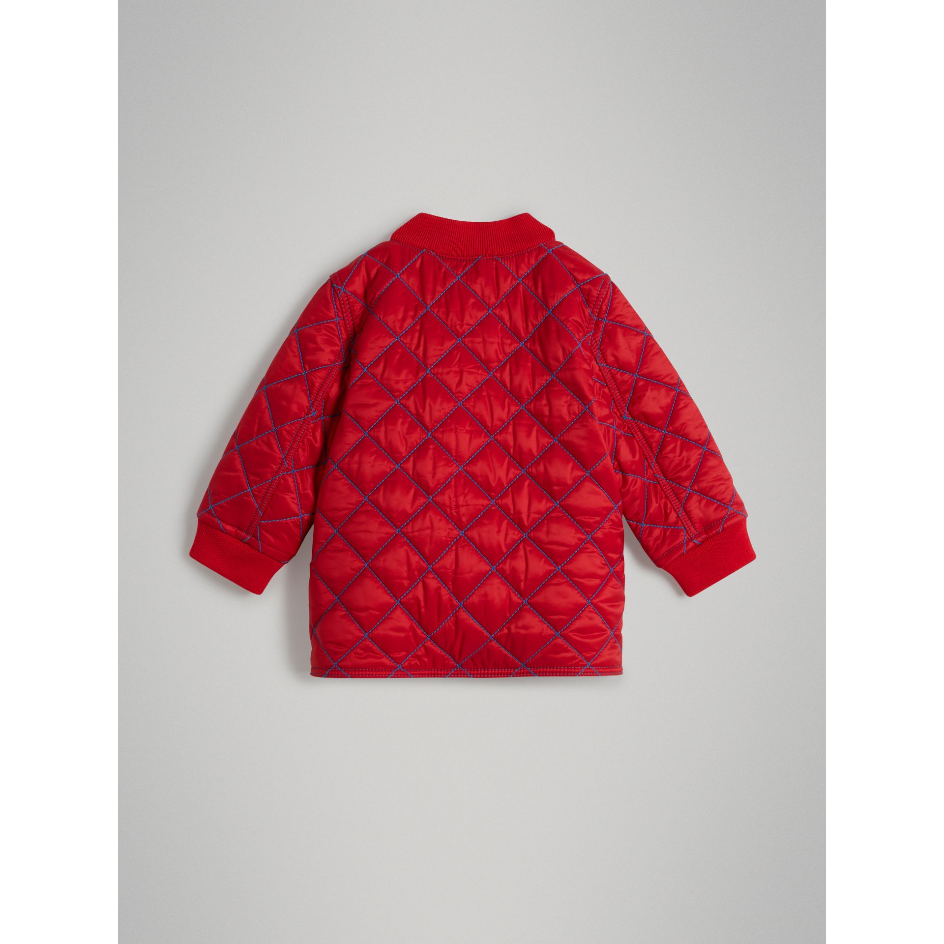 Topstitched Quilted Jacket in Bright Orange Red - Children | Burberry United Kingdom - gallery image 3