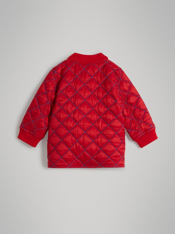 Topstitched Quilted Jacket in Bright Orange Red - Children | Burberry - cell image 3