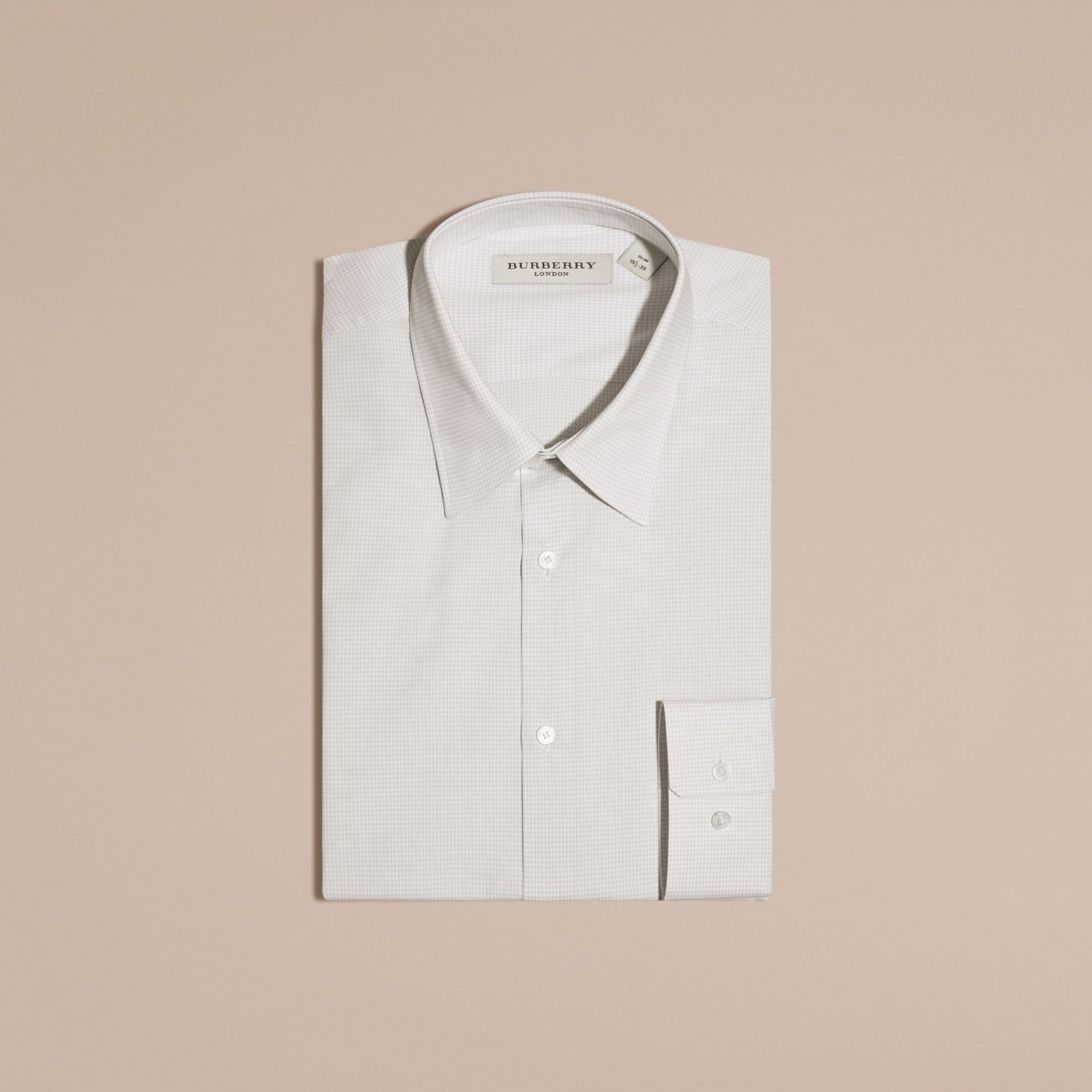 Citygrau Schmal geschnittenes Hemd aus Baumwollpopelin mit Vichy-Muster - Galerie-Bild 4