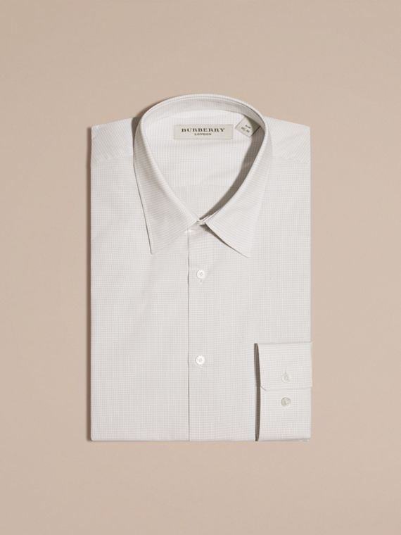 City grey Slim Fit Gingham Cotton Poplin Shirt - cell image 3