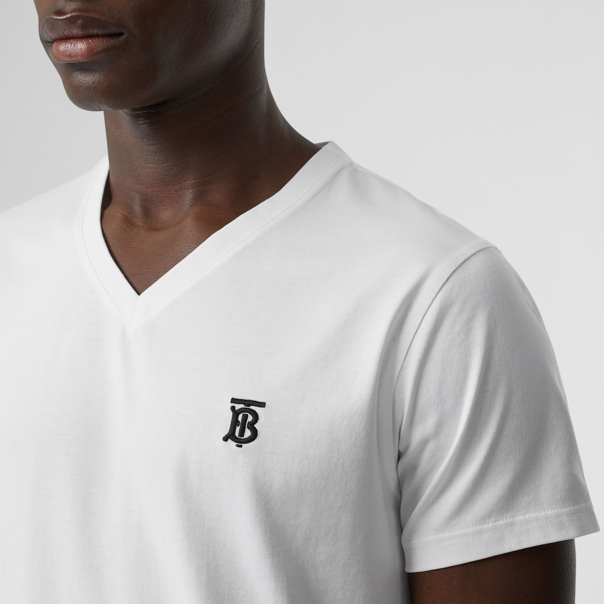 Monogram Motif Cotton V-neck T-shirt in White - Men | Burberry United Kingdom - gallery image 1
