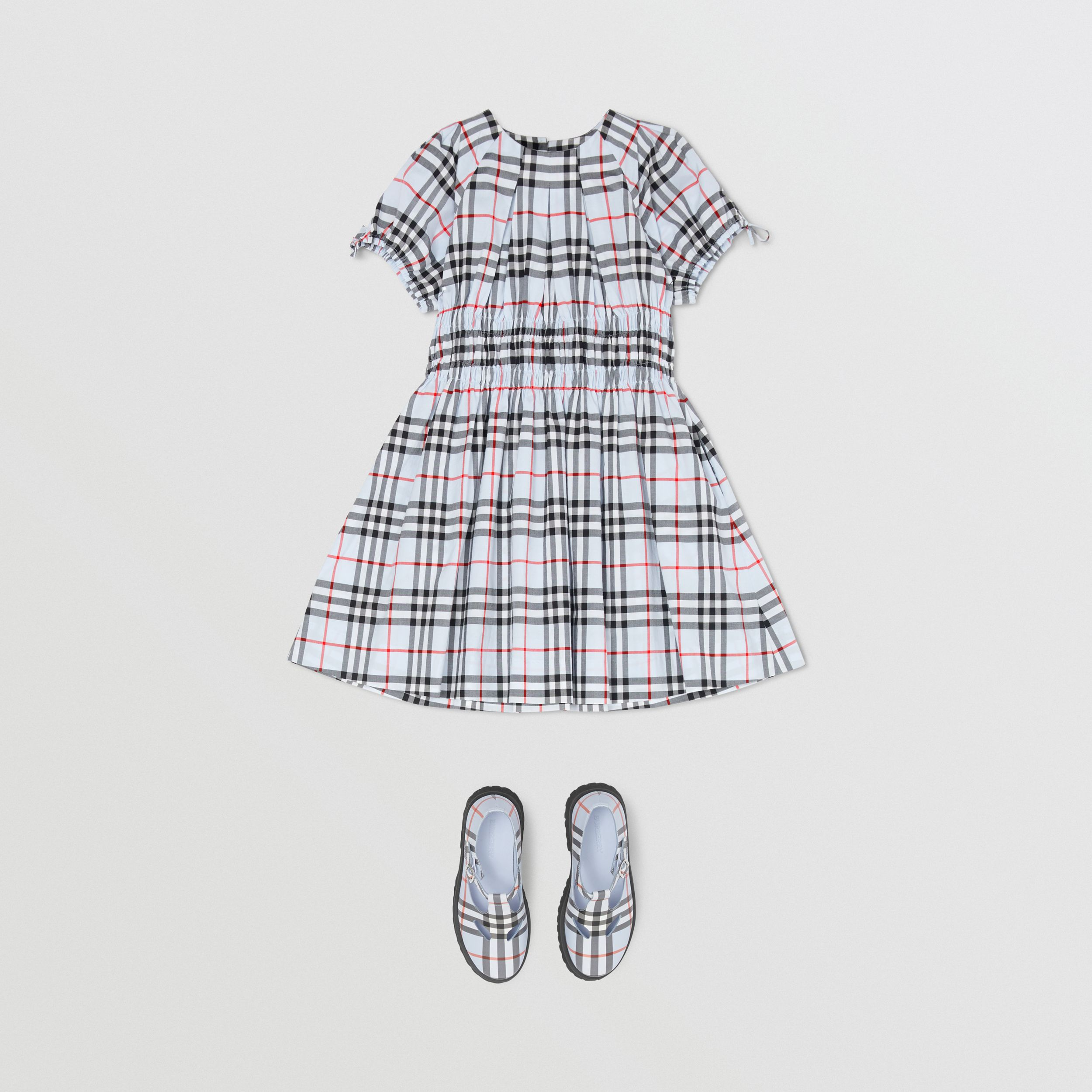 Ruched Panel Vintage Check Cotton Dress in Pale Blue | Burberry Australia - 3