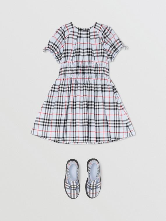 Vestido de algodão com estampa Vintage Check e recorte franzido (Azul Claro)