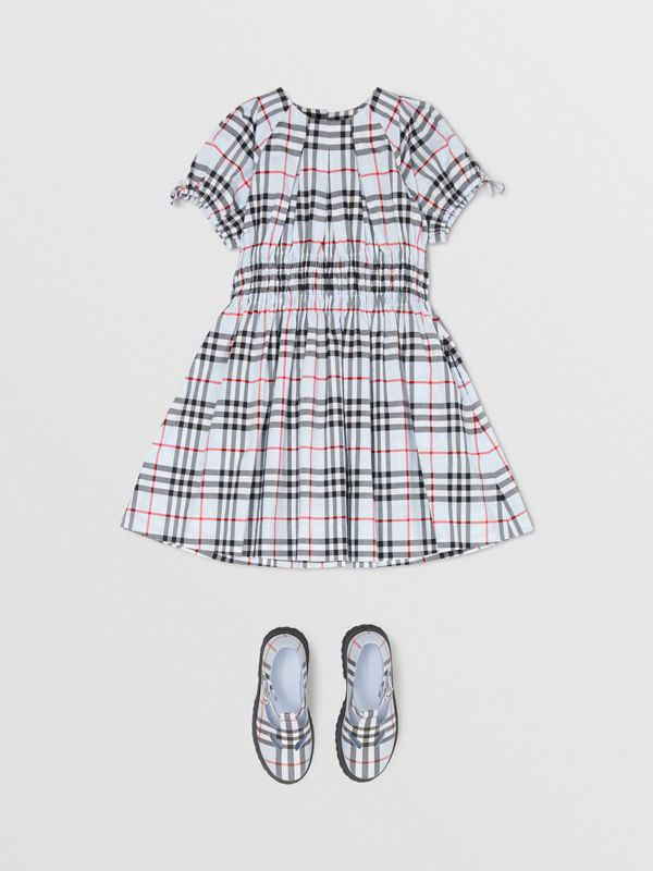 Ruched Panel Vintage Check Cotton Dress in Pale Blue | Burberry - cell image 2