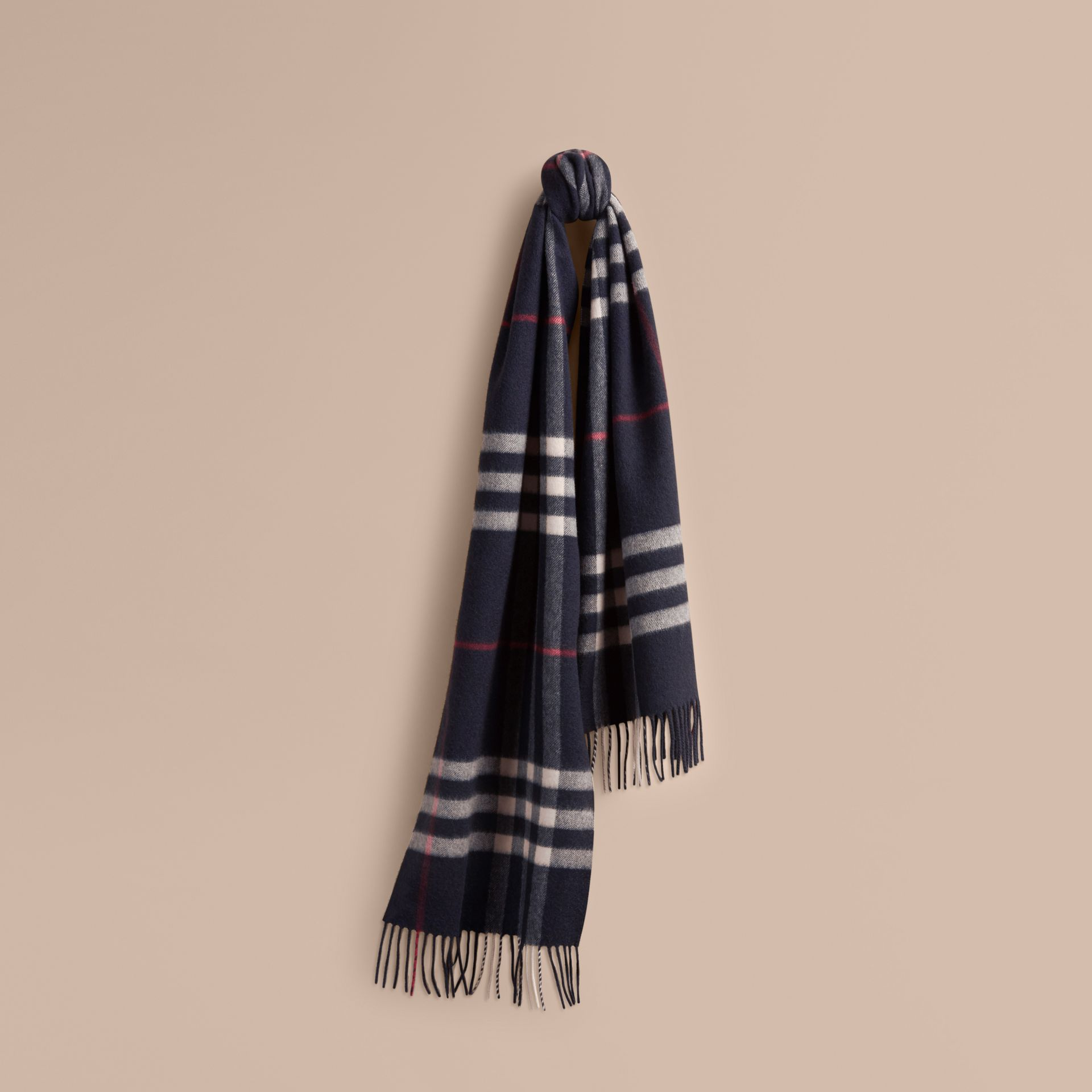 The Classic Cashmere Scarf in Check Navy - gallery image 6