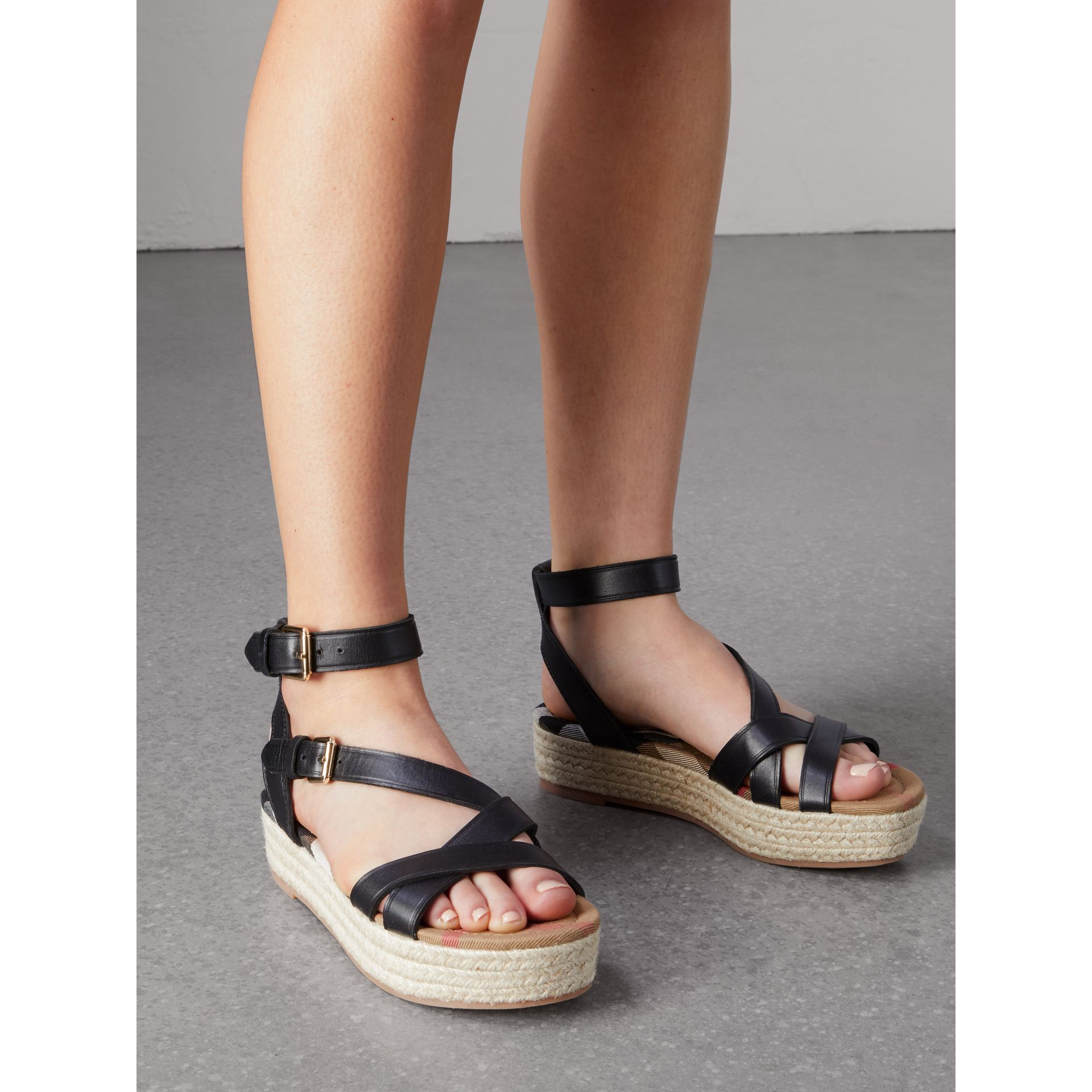 Leather and House Check Espadrille Sandals in Black - Women | Burberry - gallery image 3