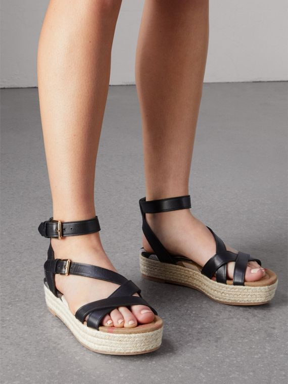 Leather and House Check Espadrille Sandals in Black - Women | Burberry - cell image 2