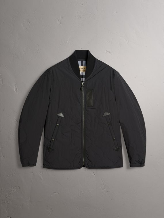 Leather Trim Lightweight Quilted Bomber Jacket in Black - Men | Burberry - cell image 3