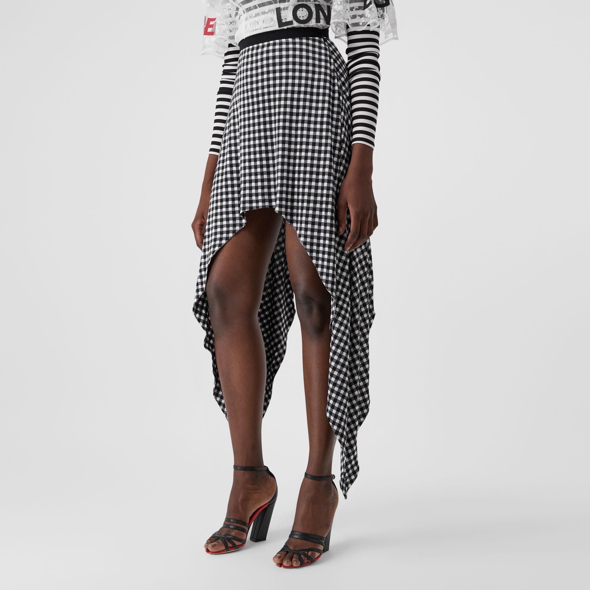 Scarf-tie Detail Gingham Mini Skirt in Black - Women | Burberry - gallery image 6