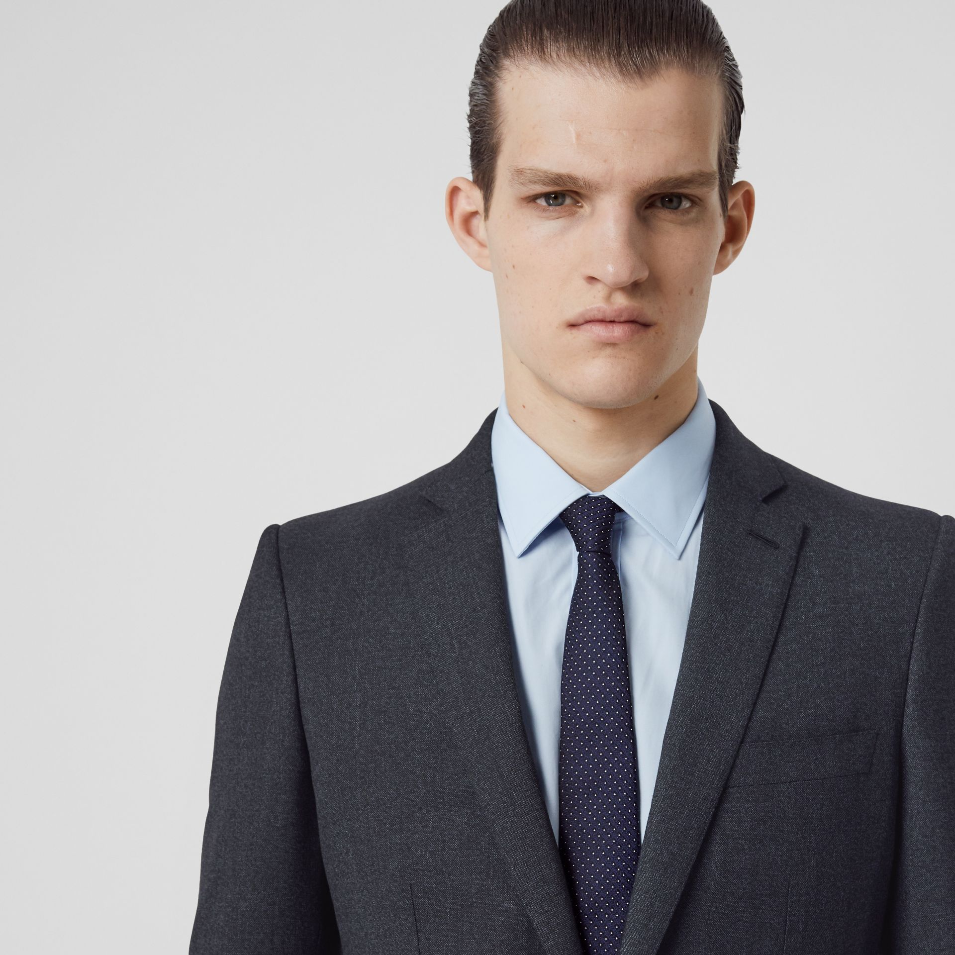 English Fit Sharkskin Wool Suit in Bright Navy Melange - Men | Burberry United Kingdom - gallery image 1