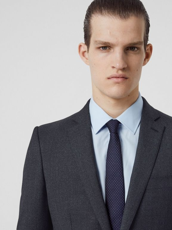 English Fit Sharkskin Wool Suit in Bright Navy Melange - Men | Burberry United Kingdom - cell image 1