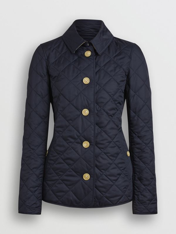 Diamond Quilted Jacket in Navy - Women | Burberry United Kingdom - cell image 3
