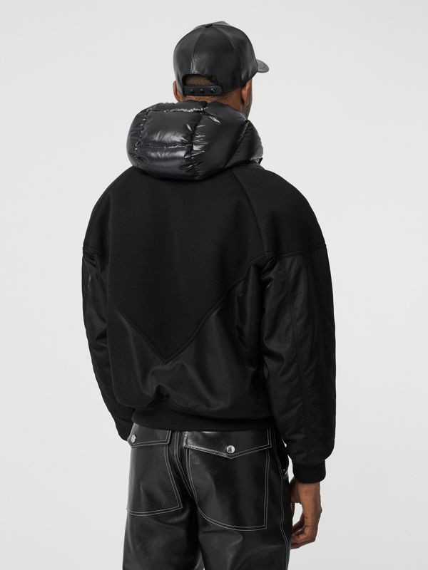 Puffer Detail Nylon and Neoprene Hooded Jacket in Black - Men | Burberry Singapore - cell image 2