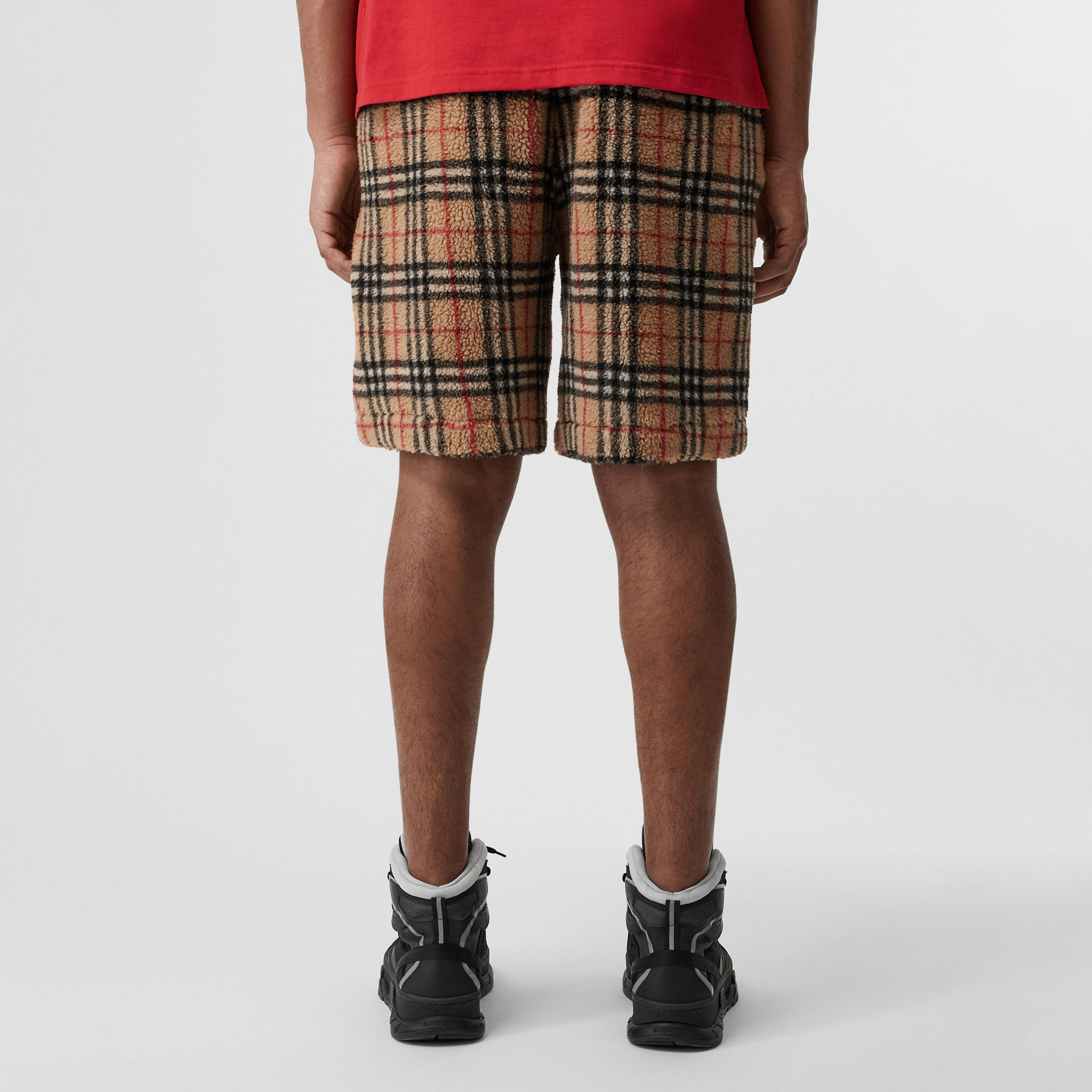 Vintage Check Faux Shearling Drawcord Shorts in Archive Beige - Men | Burberry Singapore - gallery image 2