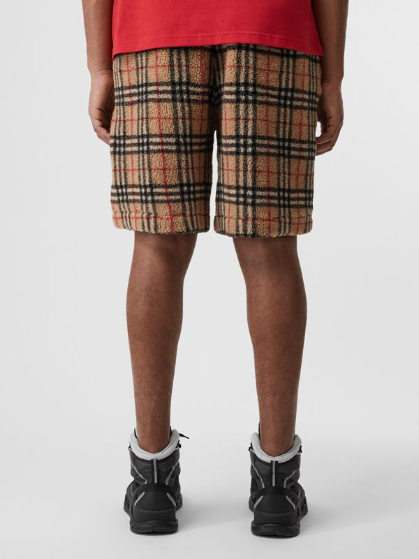 Vintage Check Faux Shearling Drawcord Shorts in Archive Beige - Men | Burberry - cell image 2