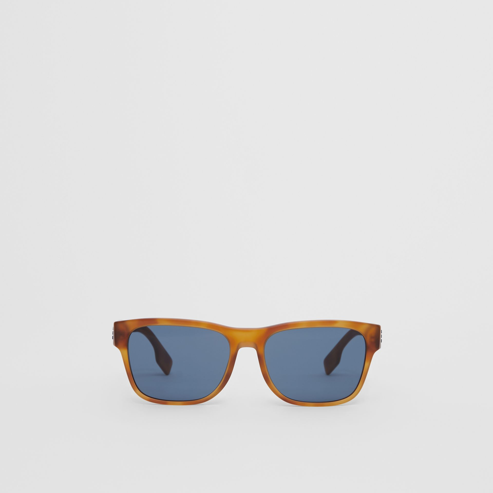 Logo Appliqué Square Frame Sunglasses in Tortoise Amber - Men | Burberry - gallery image 0