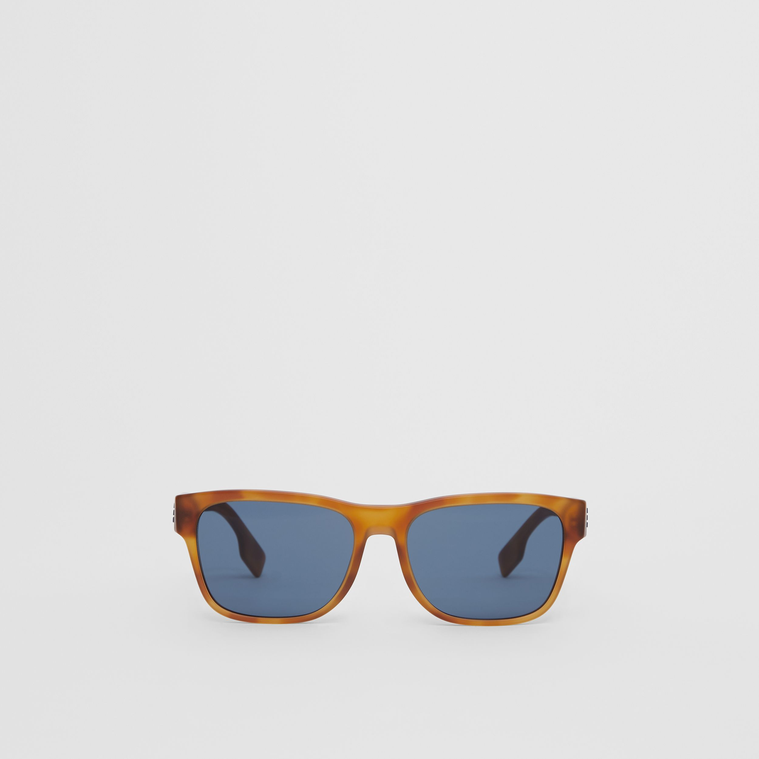 Logo Appliqué Square Frame Sunglasses in Tortoise Amber - Men | Burberry United Kingdom - 1