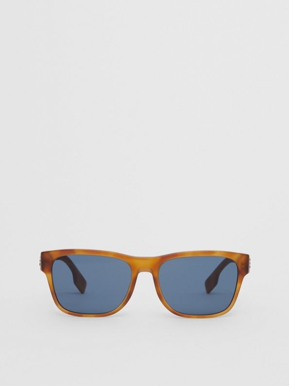 Logo Appliqué Square Frame Sunglasses in Tortoise Amber