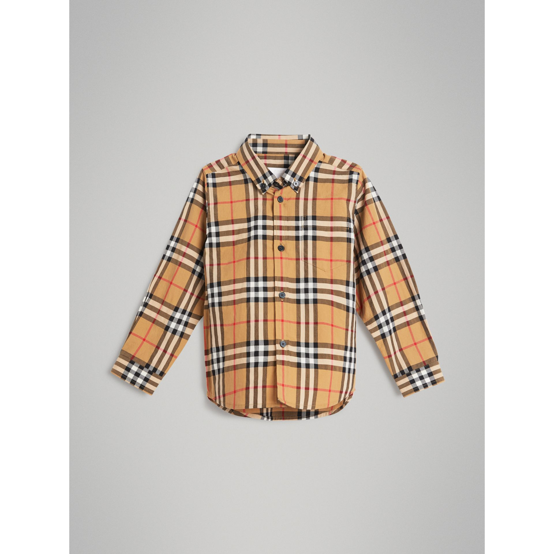 Button-down Collar Vintage Check Shirt in Antique Yellow - Boy | Burberry - gallery image 0