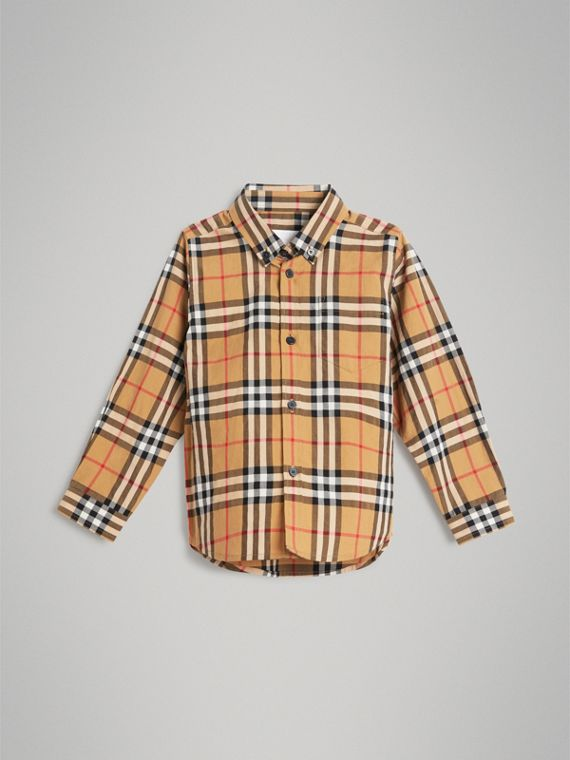 Button-down Collar Vintage Check Shirt in Antique Yellow
