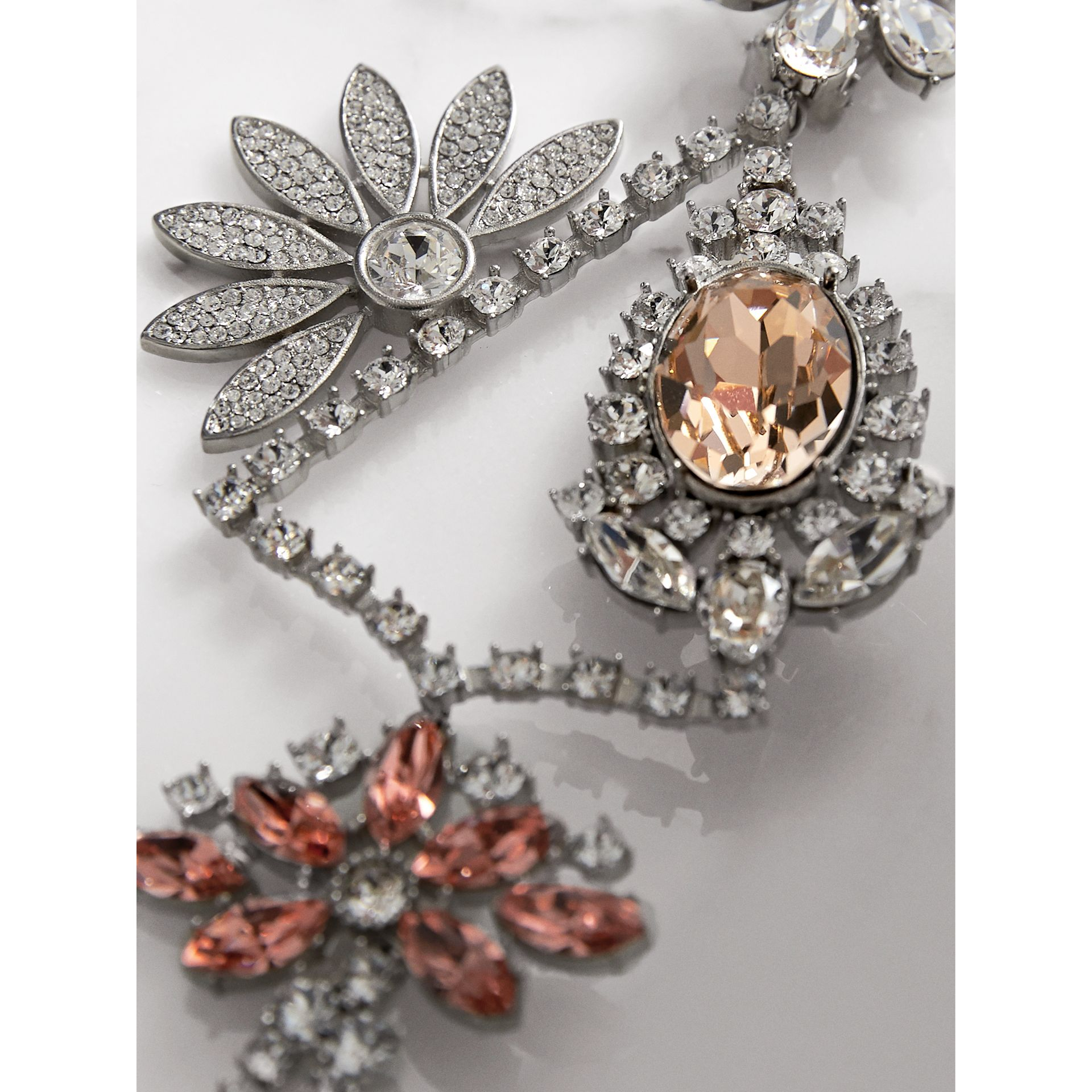 Crystal Daisy Chandelier Earring and Stud Set in Rose - Women | Burberry - gallery image 2