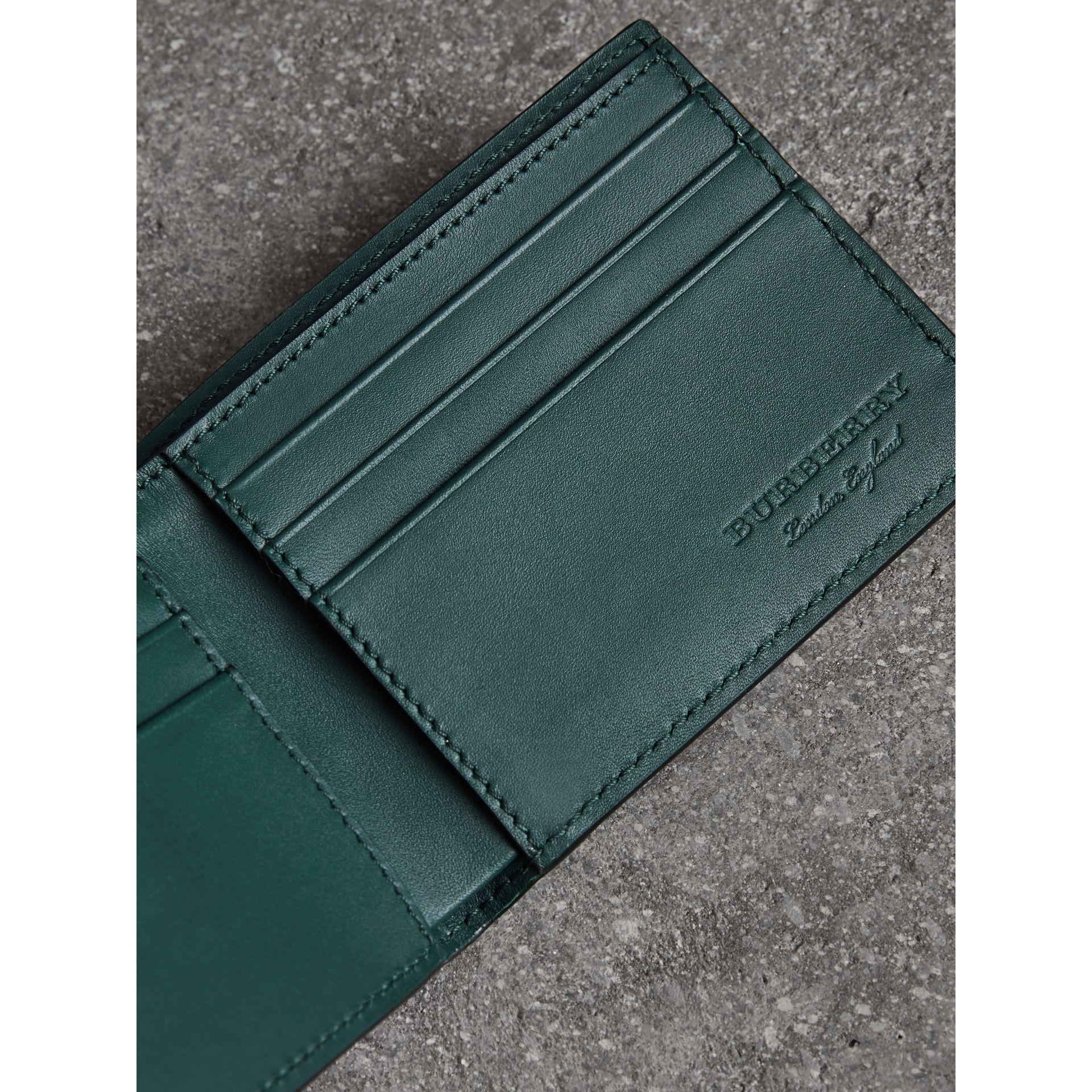 Haymarket Check and Leather Bifold Wallet in Bright Blue - Men   Burberry United States - gallery image 3