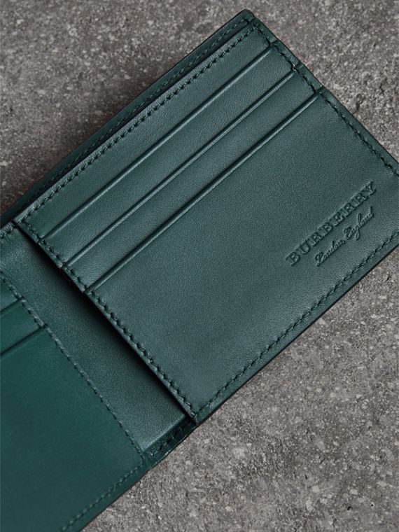 Haymarket Check and Leather Bifold Wallet in Bright Blue - Men   Burberry United States - cell image 3