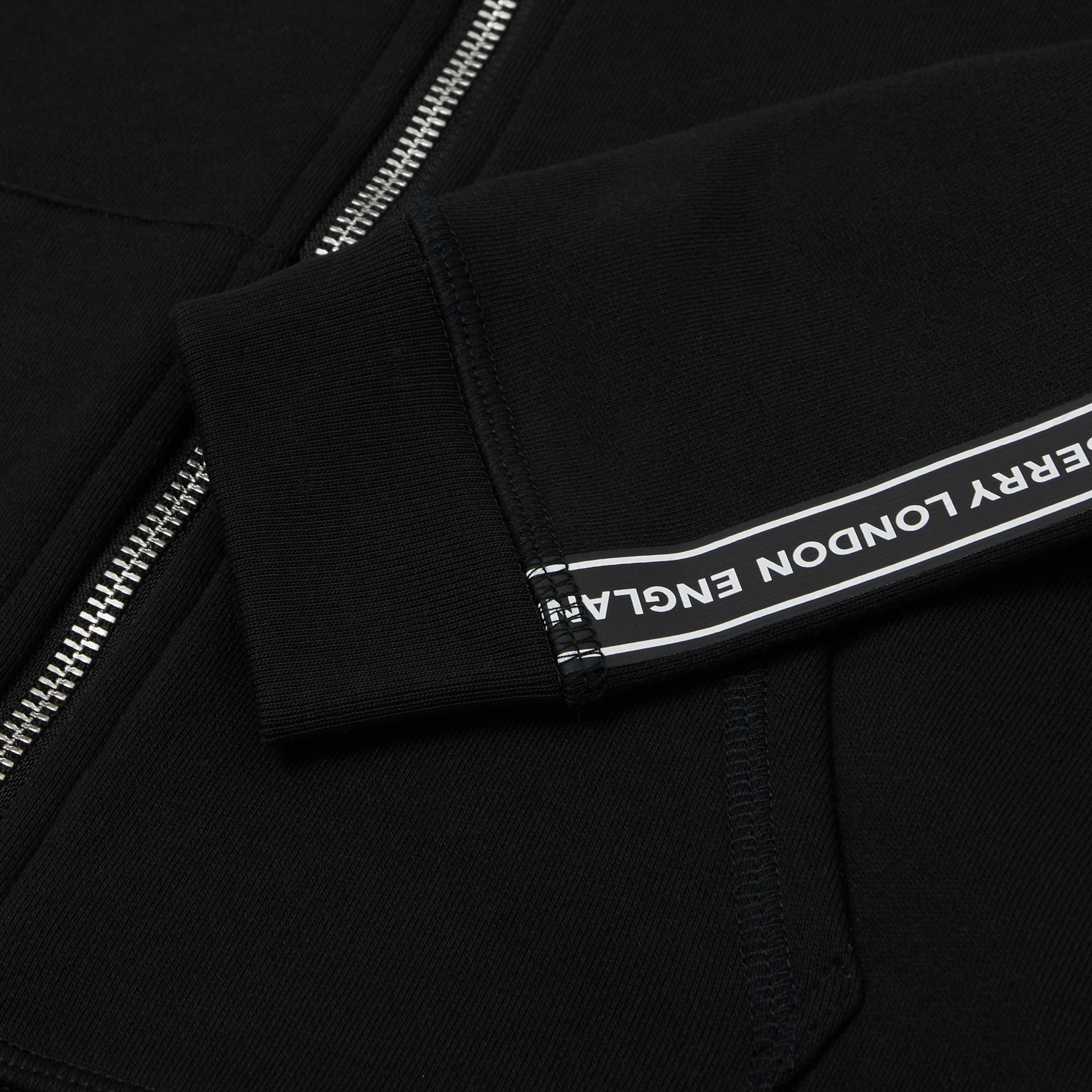 Logo Tape Cotton Hooded Top in Black | Burberry United States - gallery image 1
