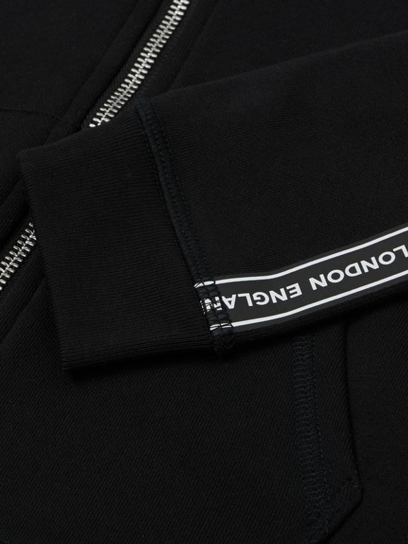 Logo Tape Cotton Hooded Top in Black | Burberry United States - cell image 1