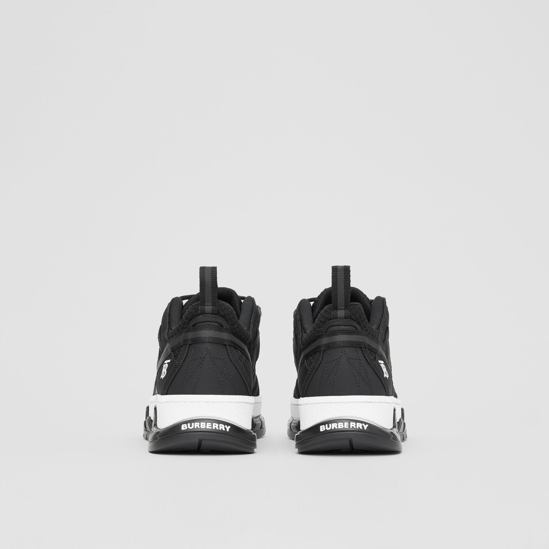 Mesh and Nubuck Union Sneakers in Black - Men | Burberry United Kingdom - gallery image 3