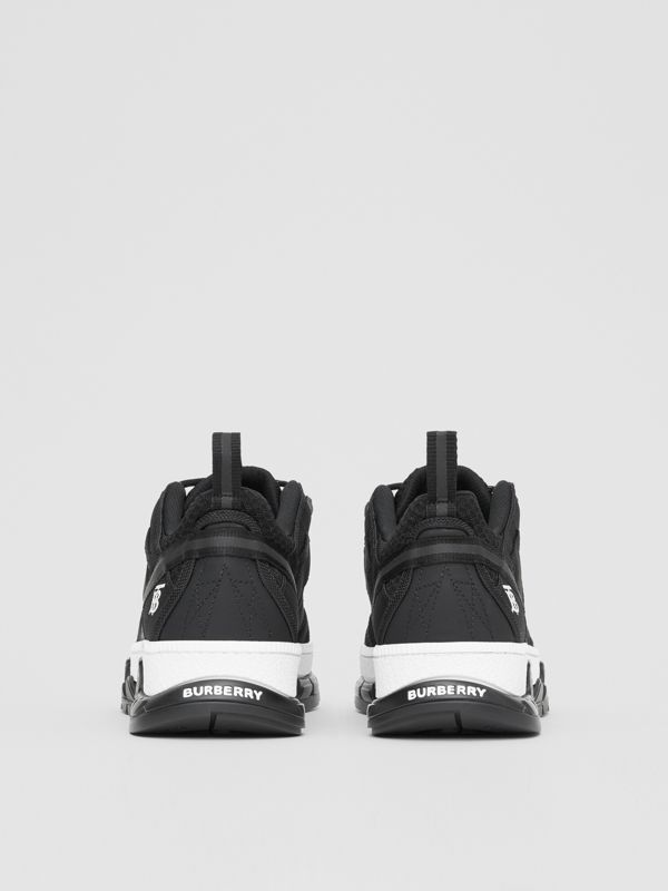 Monogram Motif Mesh and Nubuck Sneakers in Black - Men | Burberry United Kingdom - cell image 3