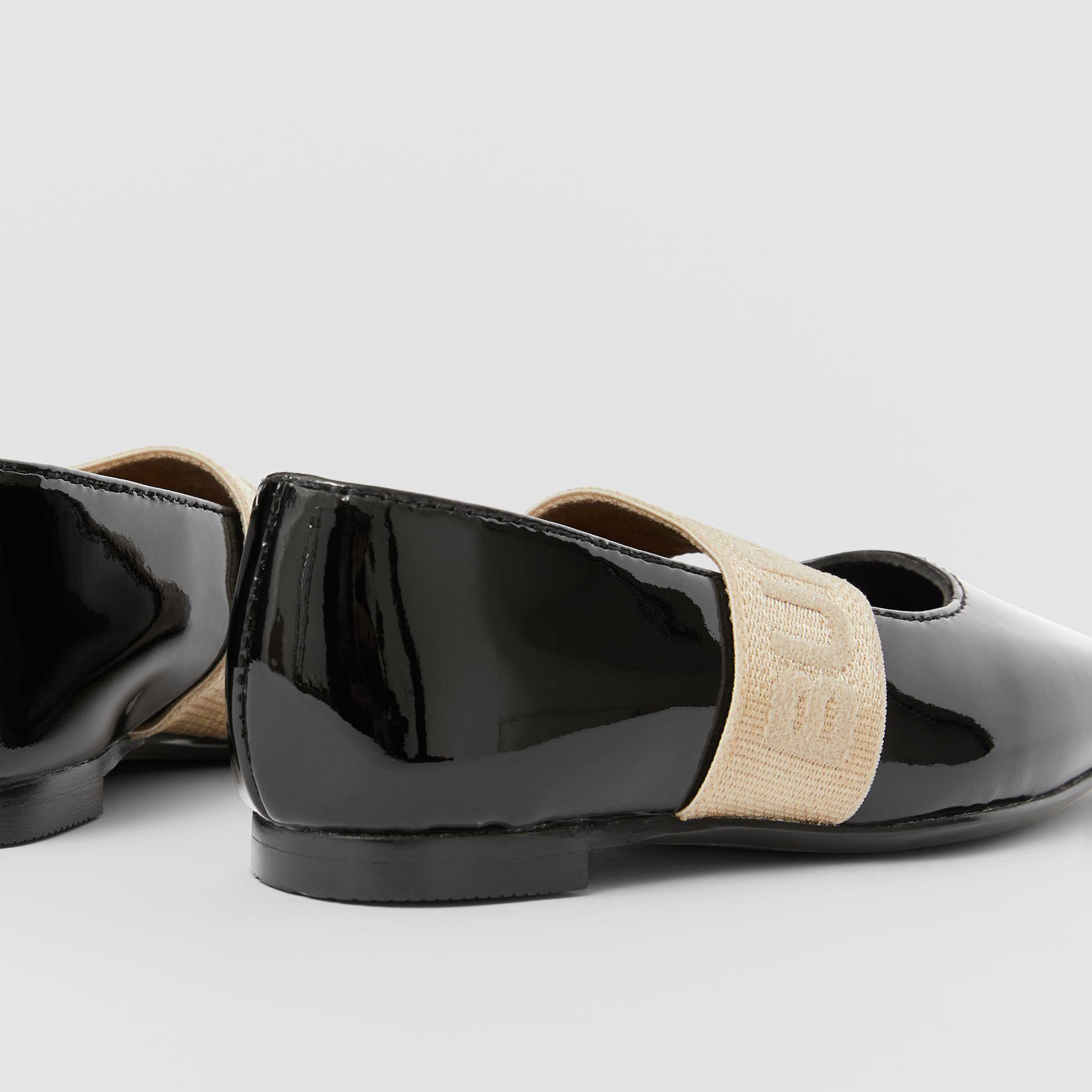 Logo Detail Patent Leather Flats in Black - Children | Burberry Australia - gallery image 1