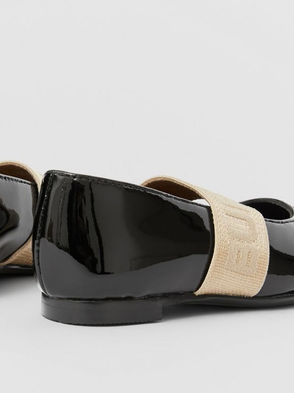 Logo Detail Patent Leather Flats in Black - Children | Burberry Australia - cell image 1