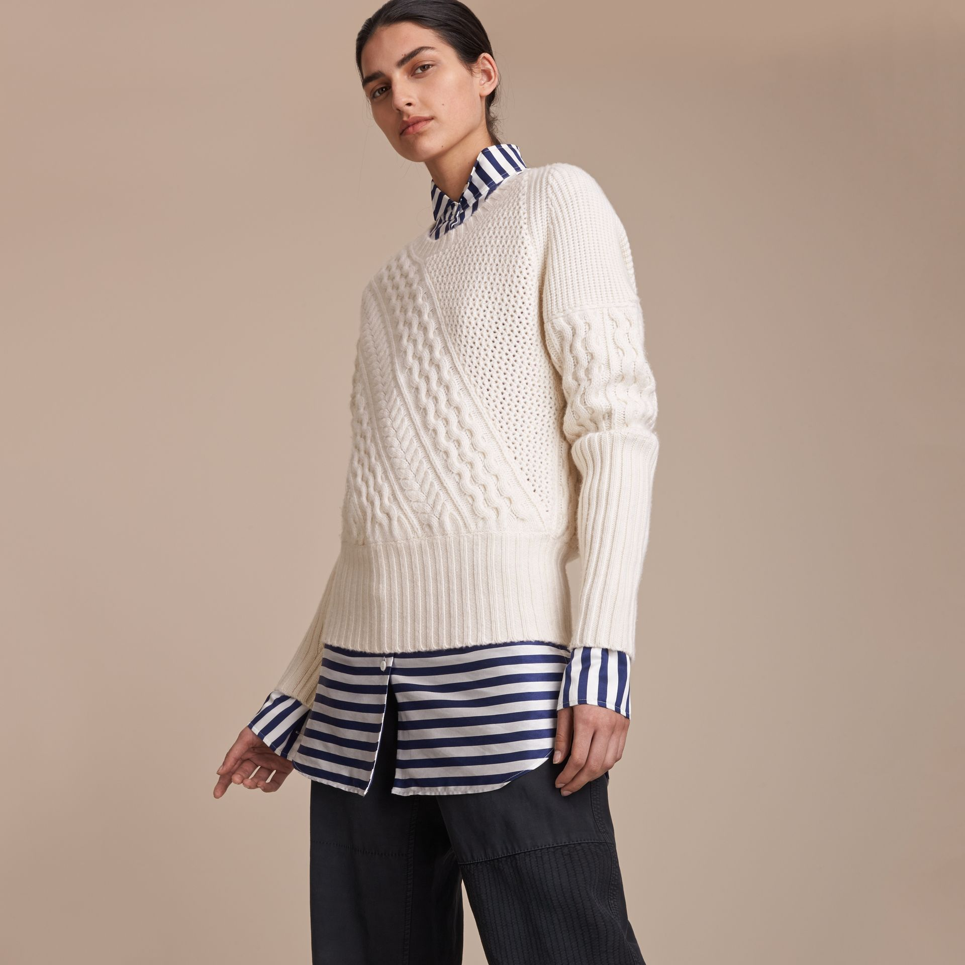 Cable and Rib Knit Panel Wool Cashmere Sweater in Natural White - Women | Burberry - gallery image 7