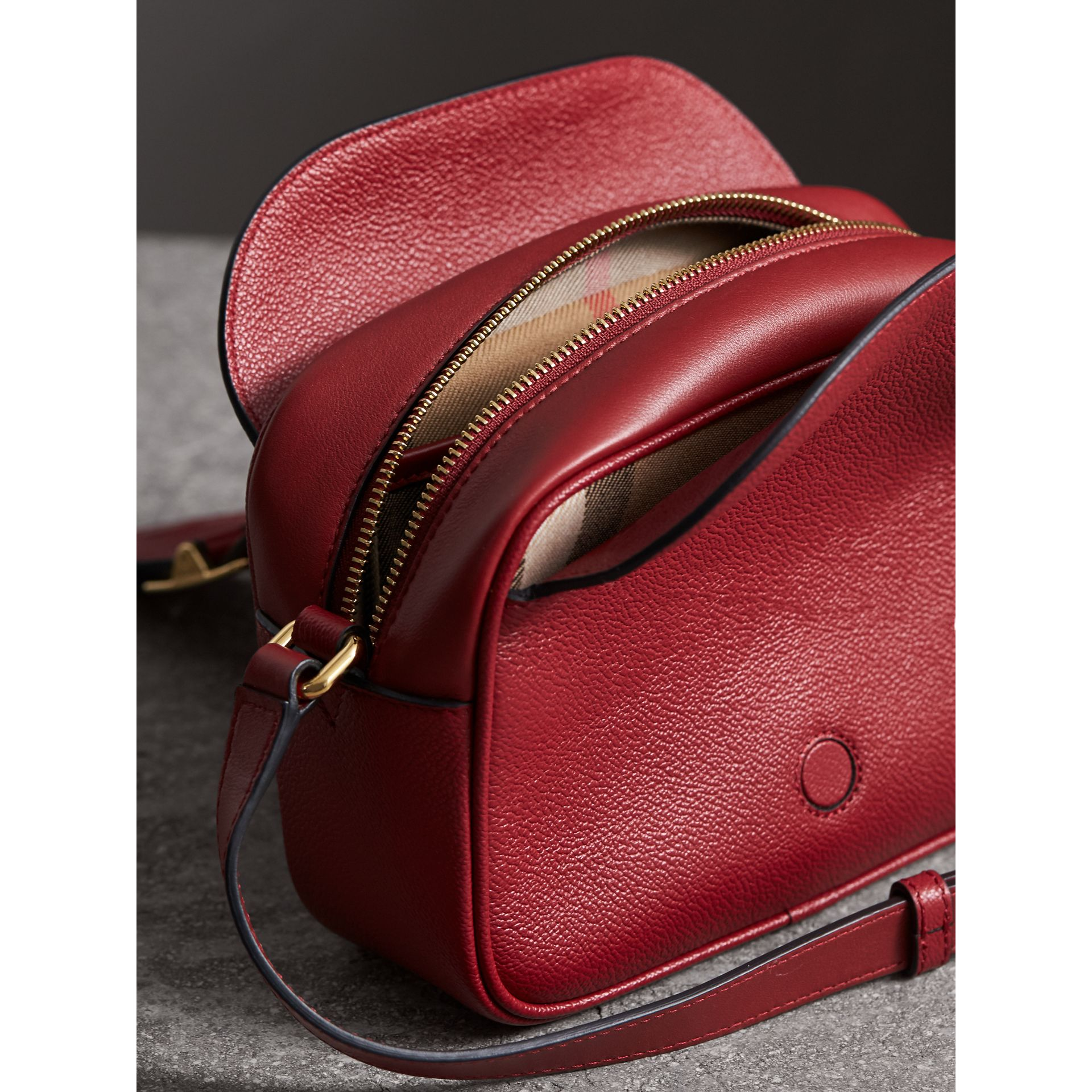 The Small Buckle Crossbody Bag in Leather in Parade Red - Women | Burberry - gallery image 4
