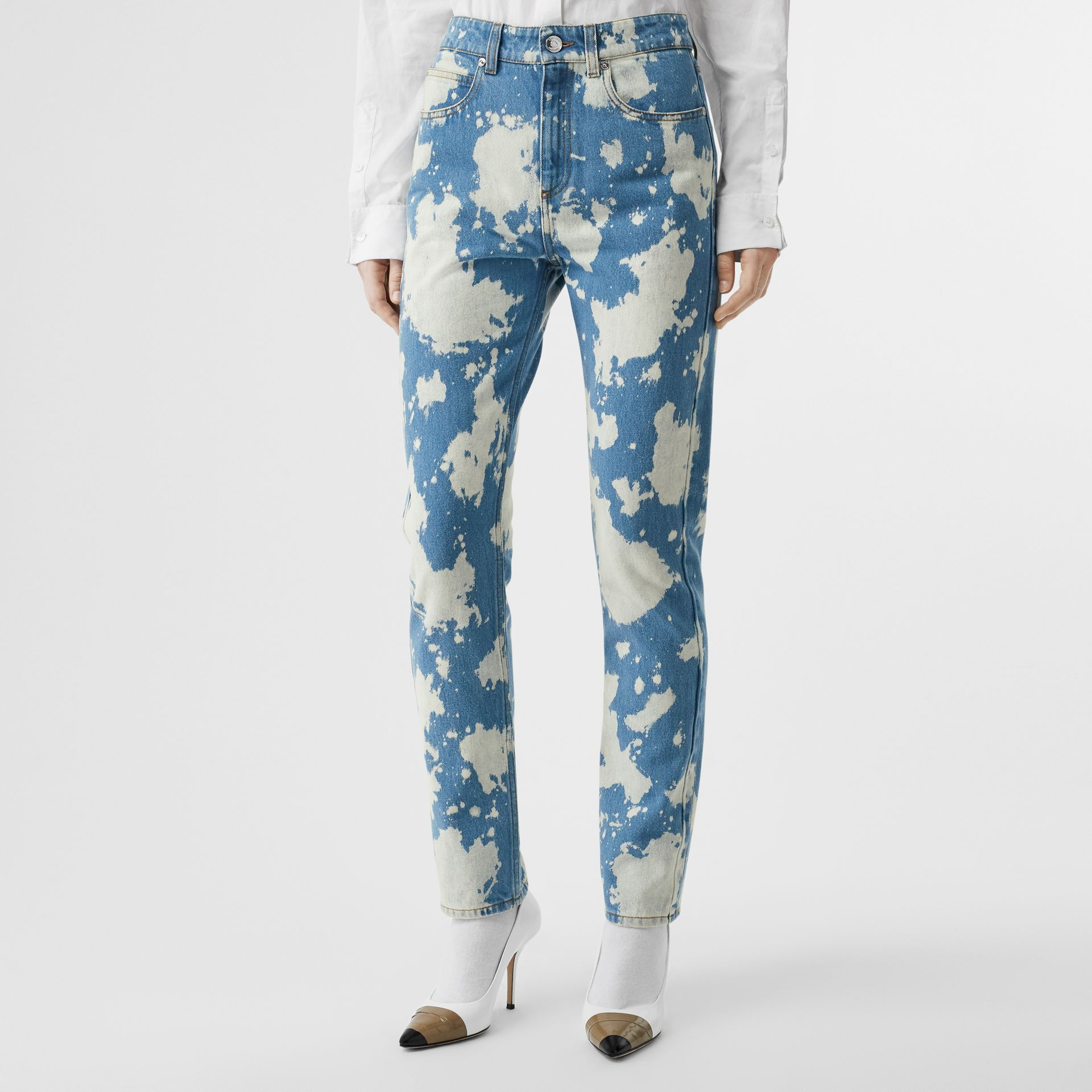 Straight Fit Monogram Motif Bleached Denim Jeans in Blue - Women | Burberry - gallery image 4
