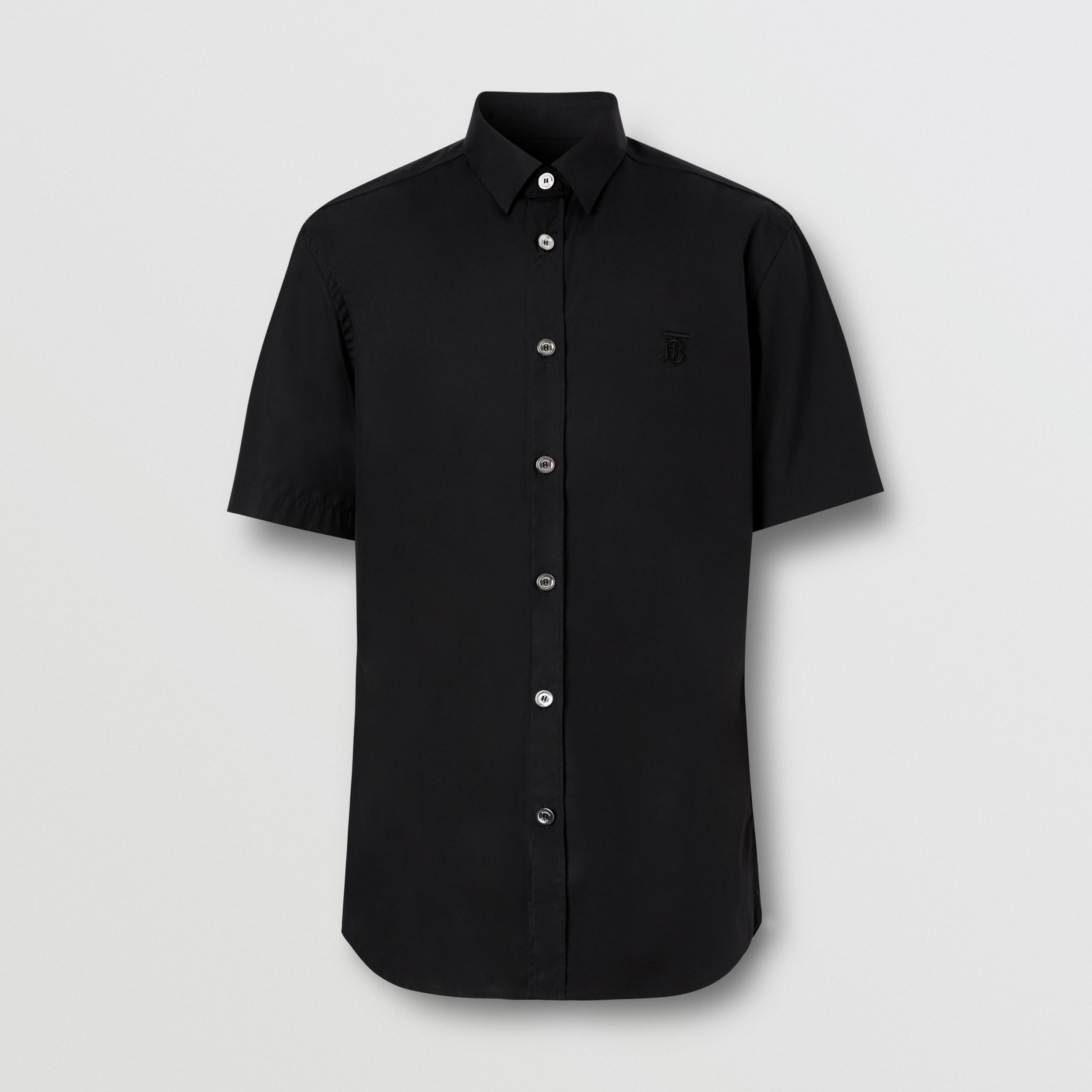 Short-sleeve Monogram Motif Stretch Cotton Shirt in Black - Men | Burberry - 4