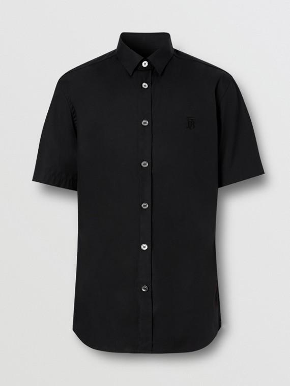 Camisa de manga corta en algodón elástico con detalle de monograma (Negro)