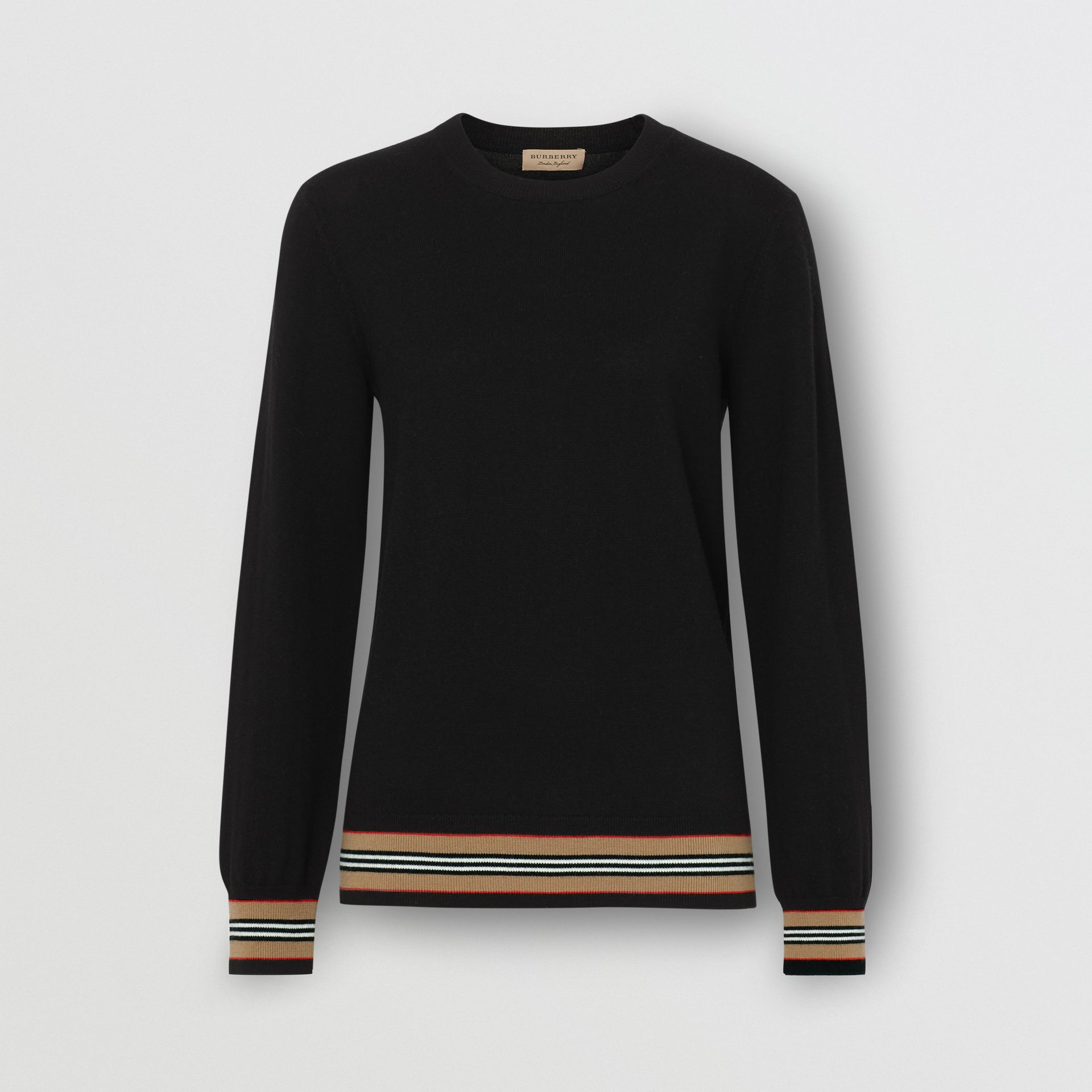 Icon Stripe Detail Merino Wool Sweater in Black - Women | Burberry United Kingdom - gallery image 3