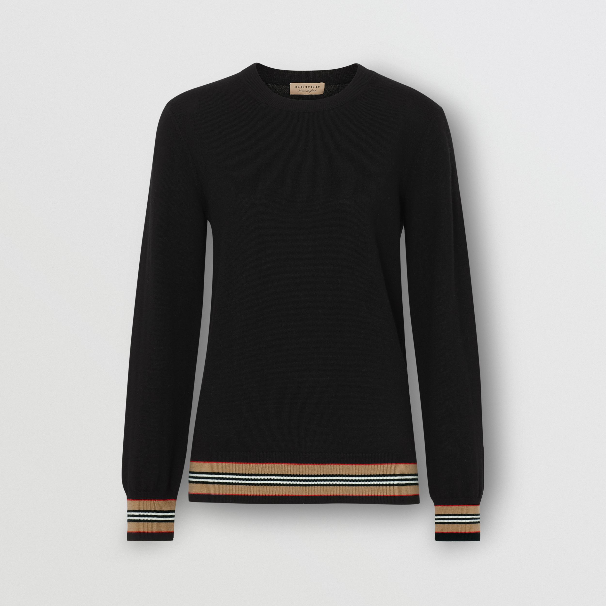 Icon Stripe Detail Merino Wool Sweater in Black - Women | Burberry Canada - 4