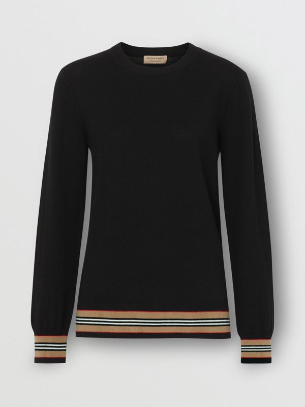 Icon Stripe Detail Merino Wool Sweater in Black - Women | Burberry Hong Kong - cell image 3