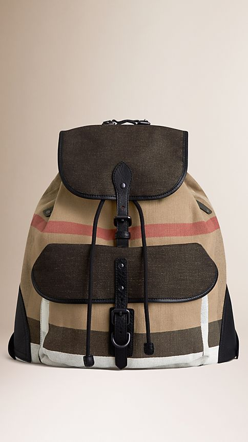 Camel Canvas Check Backpack - Image 1