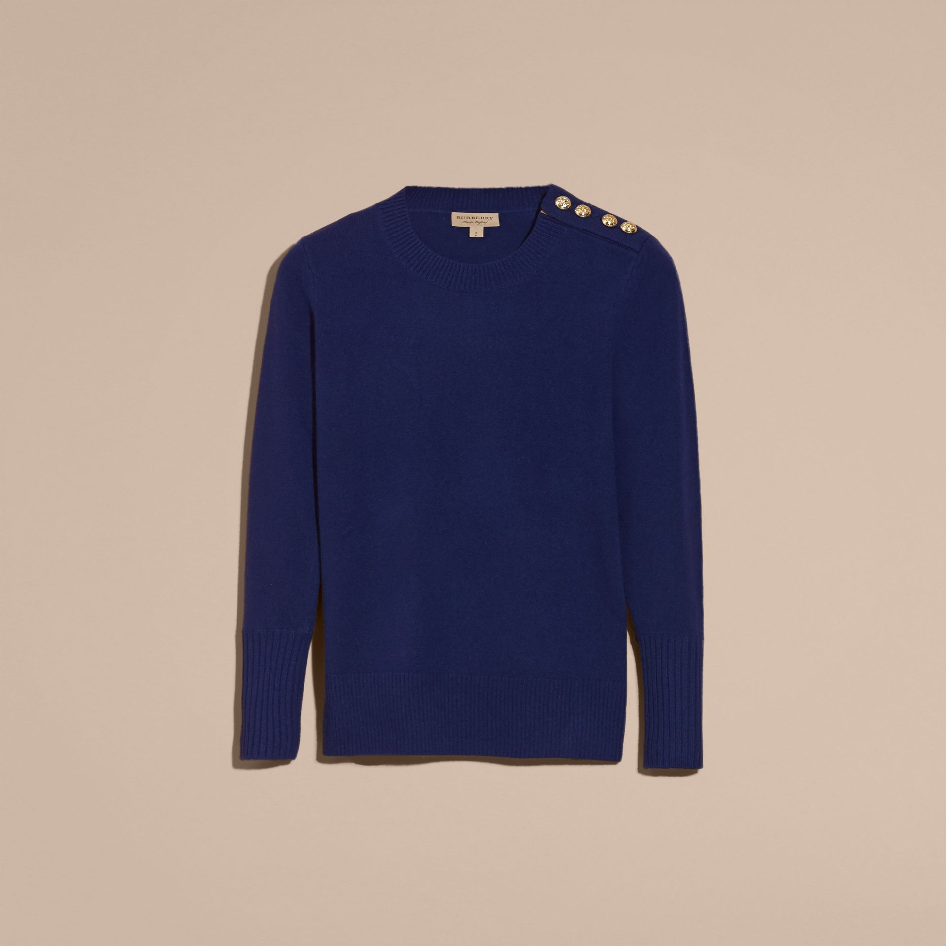 Cashmere Sweater with Crested Buttons in Bright Navy - gallery image 4