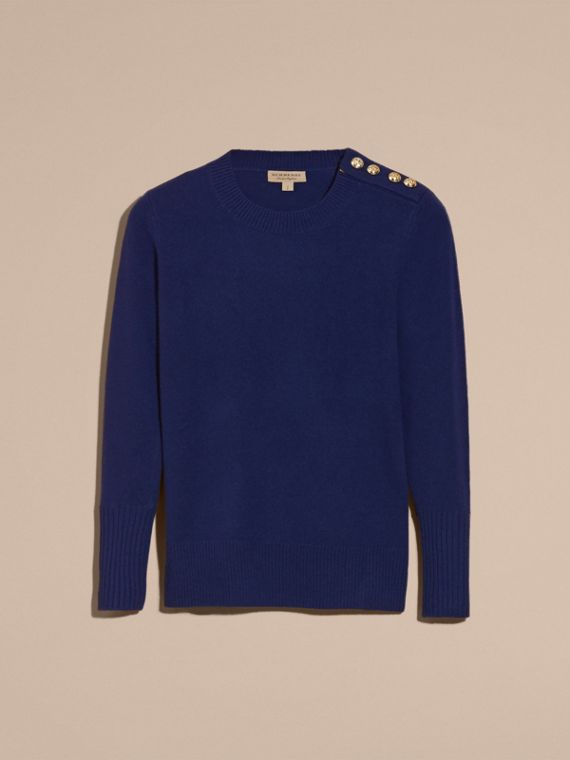 Cashmere Sweater with Crested Buttons in Bright Navy - cell image 3
