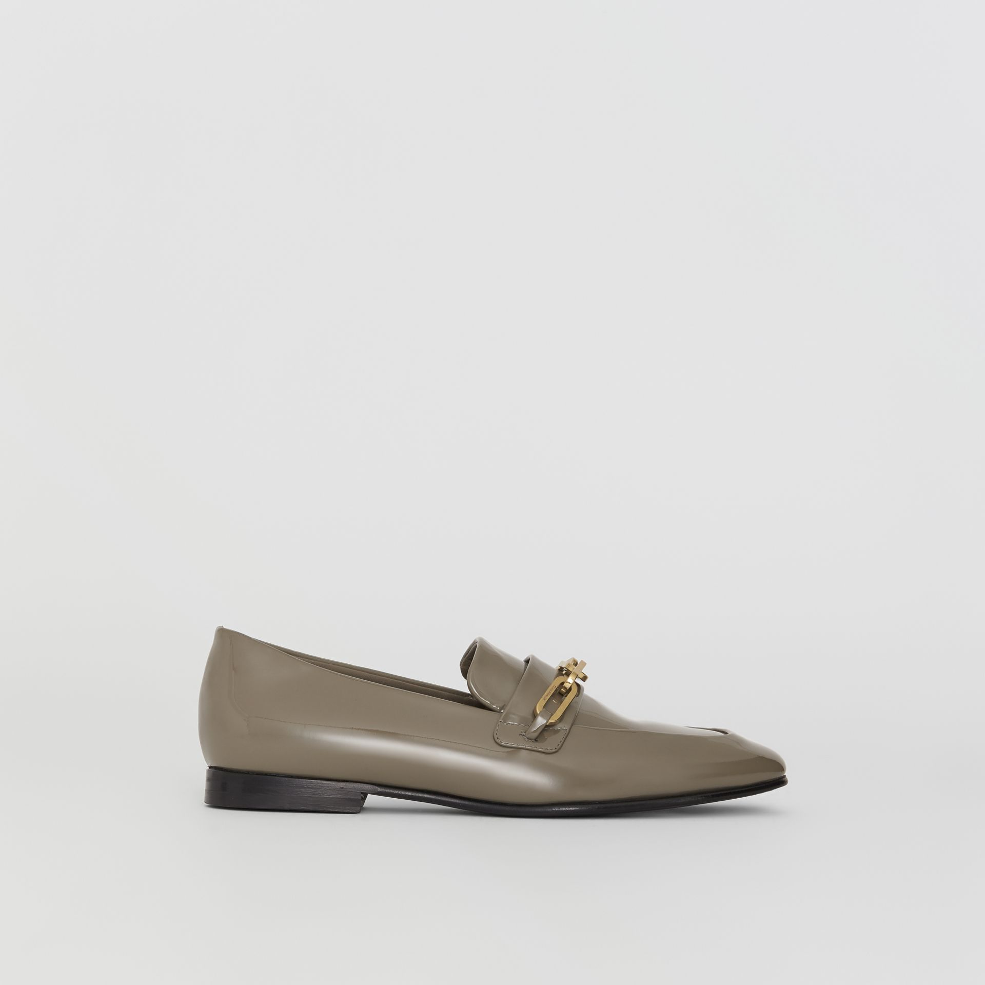 Link Detail Patent Leather Loafers in Taupe Grey - Women | Burberry Singapore - gallery image 5