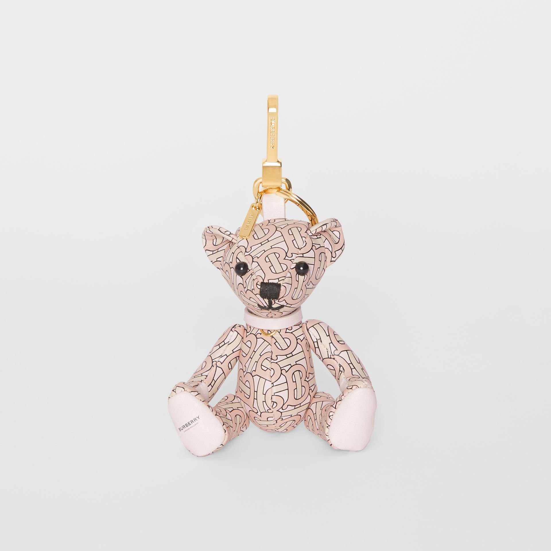 Thomas Bear Charm in Monogram Print Leather in Blush Pink | Burberry - gallery image 2