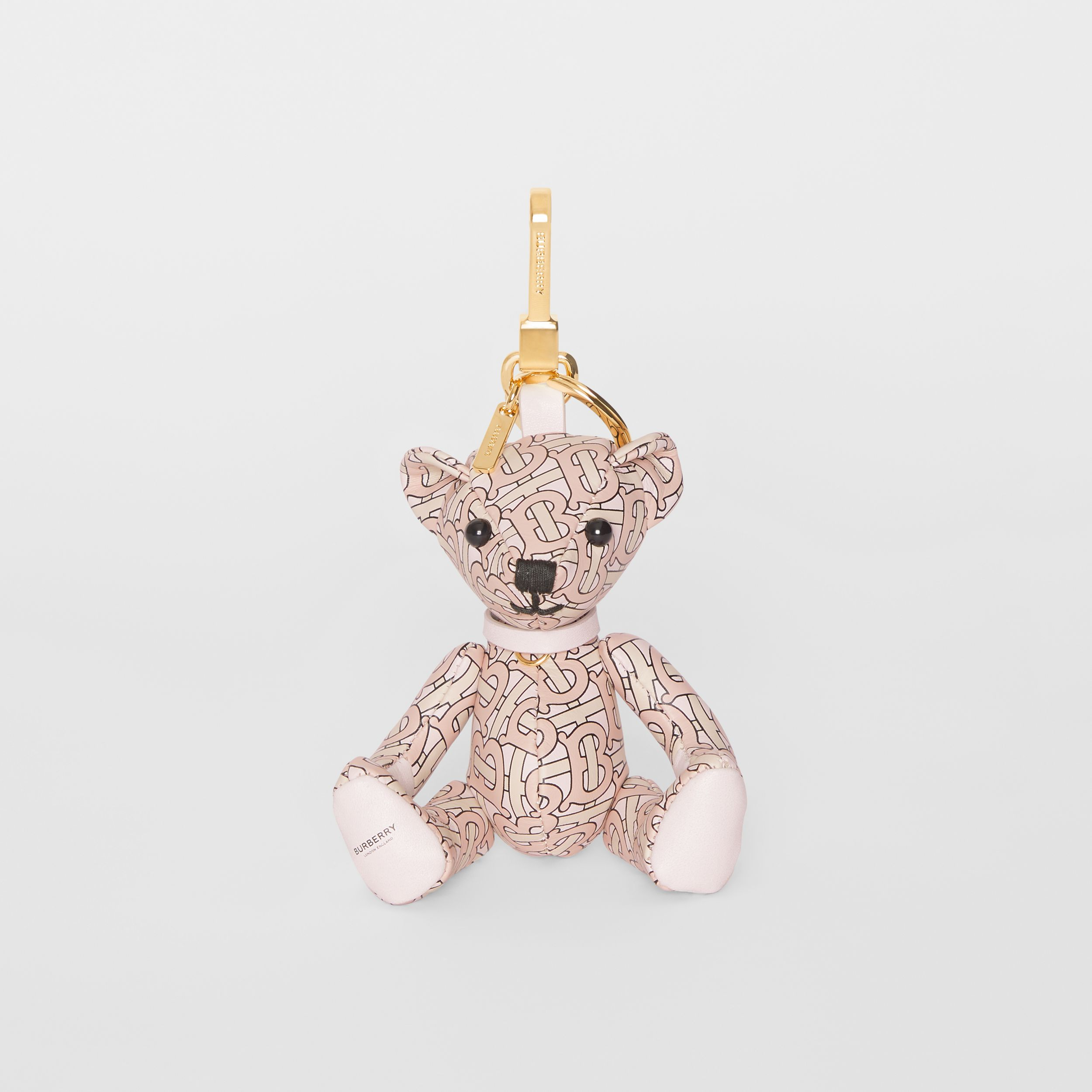 Thomas Bear Charm in Monogram Print Leather in Blush Pink - Women | Burberry - 3