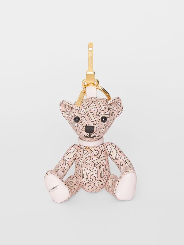 Thomas Bear Charm in Monogram Print Leather in Blush Pink | Burberry - cell image 2